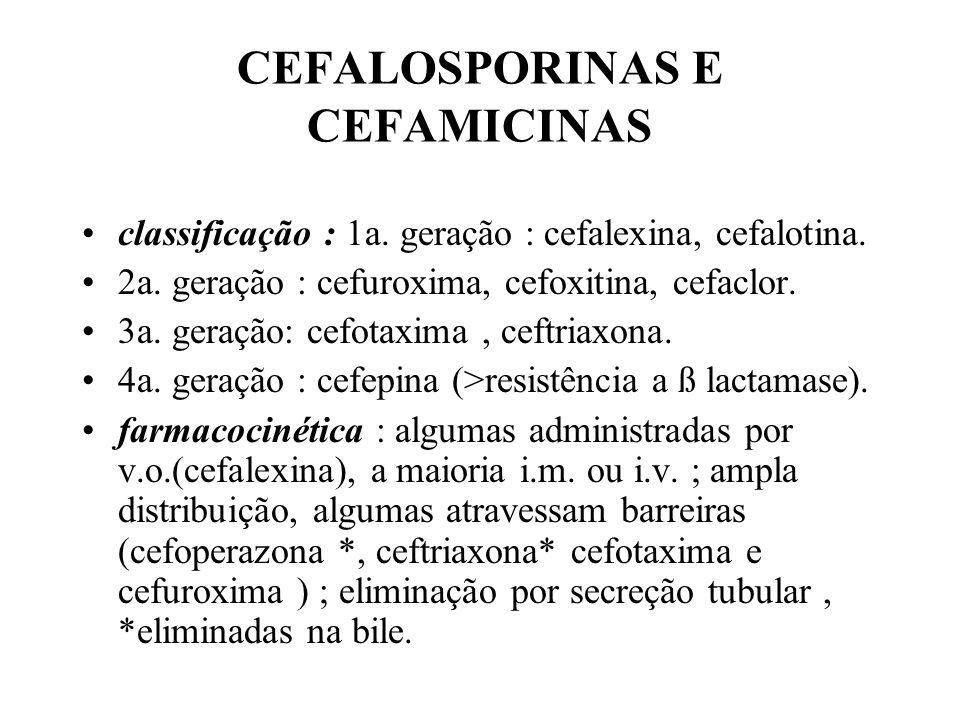 CEFALOSPORINAS E CEFAMICINAS classificação : 1a. geração : cefalexina, cefalotina. 2a. geração : cefuroxima, cefoxitina, cefaclor. 3a. geração: cefota