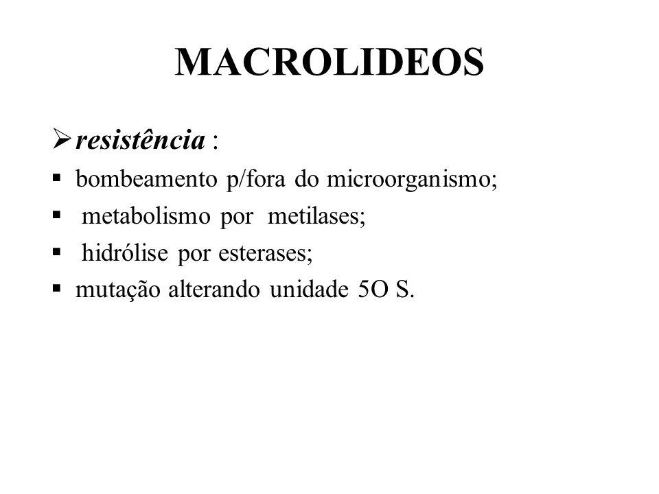 MACROLIDEOS resistência : bombeamento p/fora do microorganismo; metabolismo por metilases; hidrólise por esterases; mutação alterando unidade 5O S.