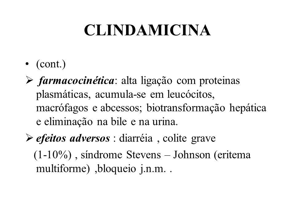 CLINDAMICINA (cont.) farmacocinética: alta ligação com proteinas plasmáticas, acumula-se em leucócitos, macrófagos e abcessos; biotransformação hepáti