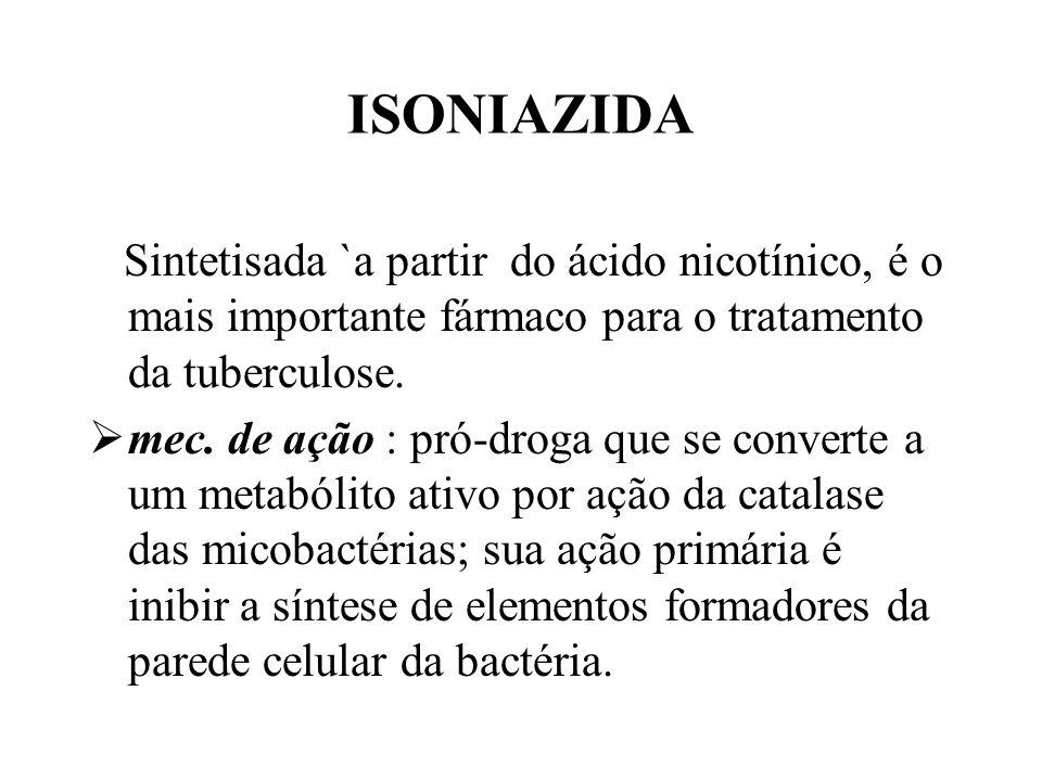 ISONIAZIDA Sintetisada `a partir do ácido nicotínico, é o mais importante fármaco para o tratamento da tuberculose. mec. de ação : pró-droga que se co