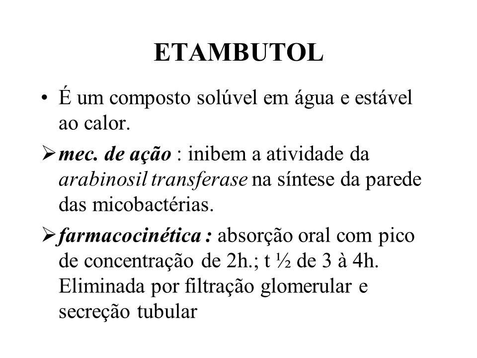 ETAMBUTOL É um composto solúvel em água e estável ao calor. mec. de ação : inibem a atividade da arabinosil transferase na síntese da parede das micob