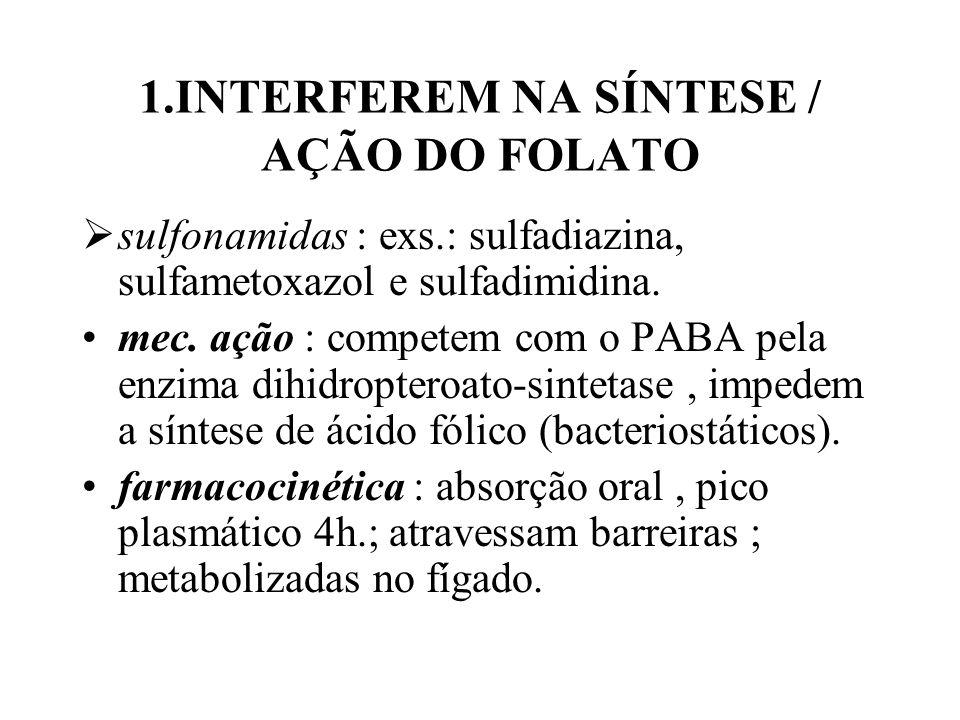 1.INTERFEREM NA SÍNTESE / AÇÃO DO FOLATO sulfonamidas : exs.: sulfadiazina, sulfametoxazol e sulfadimidina. mec. ação : competem com o PABA pela enzim