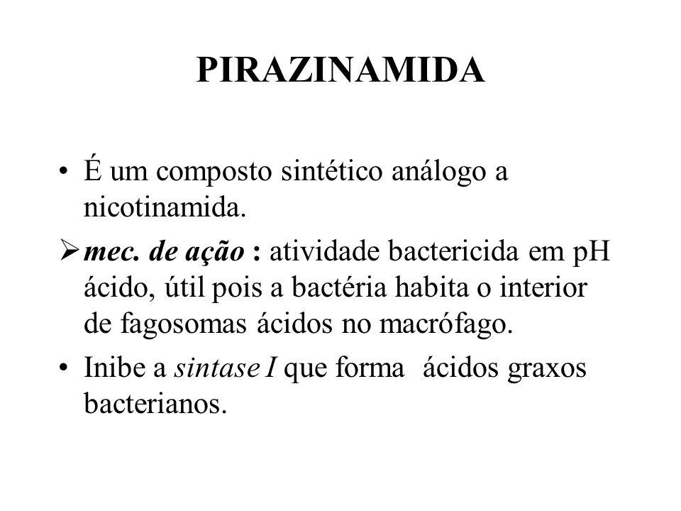 PIRAZINAMIDA É um composto sintético análogo a nicotinamida. mec. de ação : atividade bactericida em pH ácido, útil pois a bactéria habita o interior