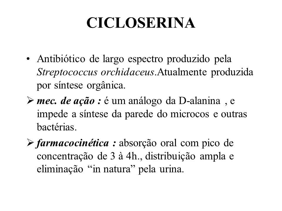 CICLOSERINA Antibiótico de largo espectro produzido pela Streptococcus orchidaceus.Atualmente produzida por síntese orgânica. mec. de ação : é um anál