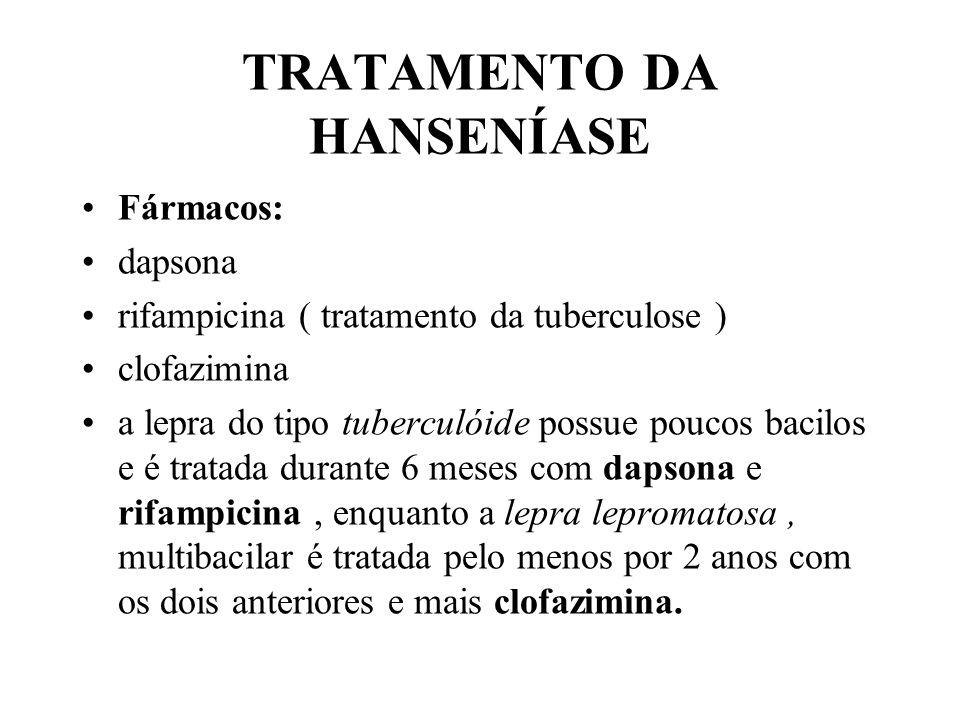 TRATAMENTO DA HANSENÍASE Fármacos: dapsona rifampicina ( tratamento da tuberculose ) clofazimina a lepra do tipo tuberculóide possue poucos bacilos e