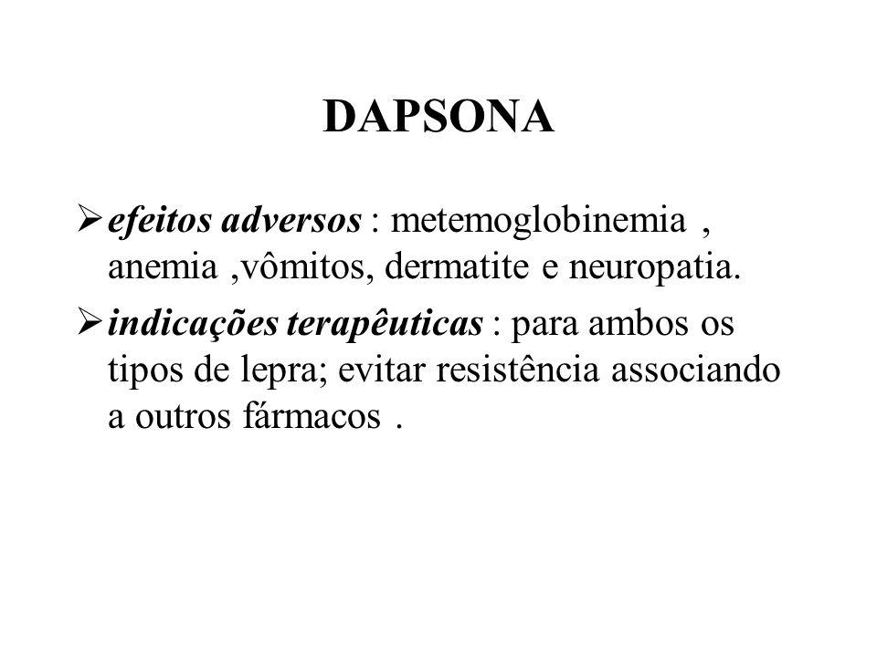 DAPSONA efeitos adversos : metemoglobinemia, anemia,vômitos, dermatite e neuropatia. indicações terapêuticas : para ambos os tipos de lepra; evitar re