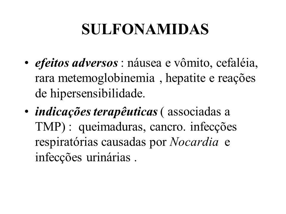 SULFONAMIDAS efeitos adversos : náusea e vômito, cefaléia, rara metemoglobinemia, hepatite e reações de hipersensibilidade. indicações terapêuticas (