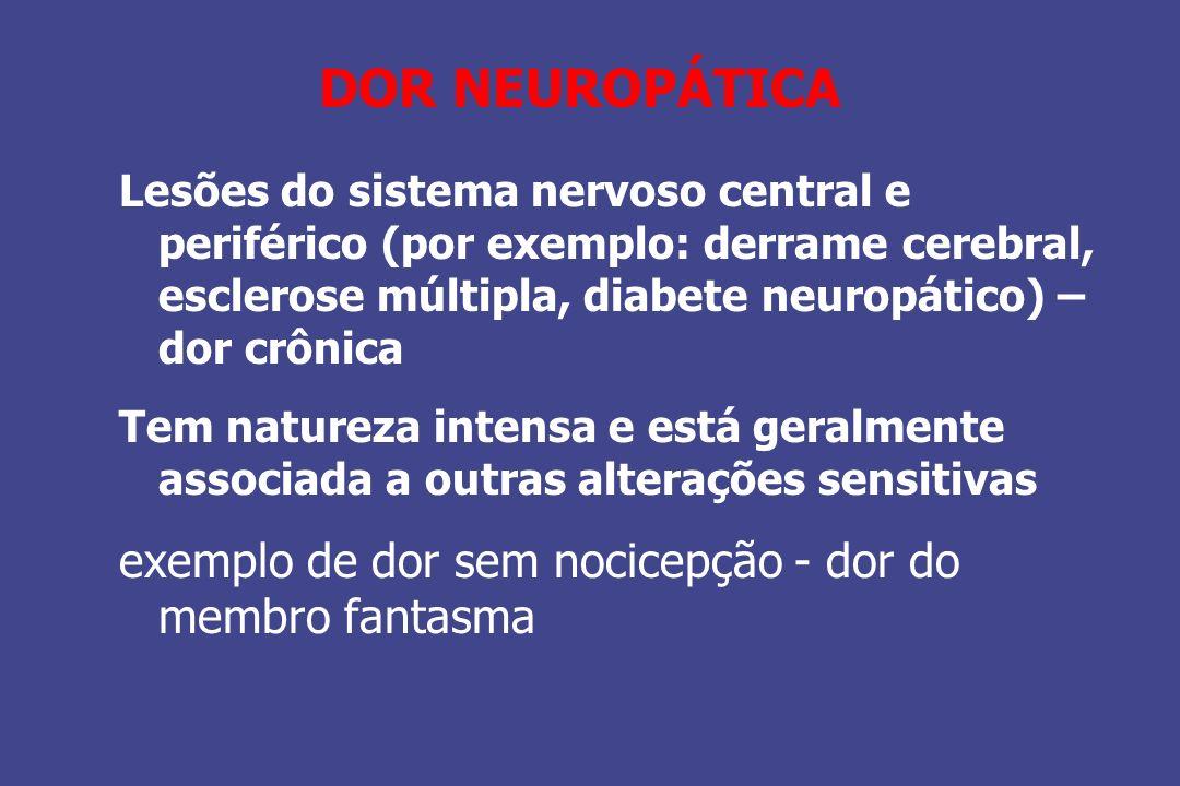 DOR NEUROPÁTICA Lesões do sistema nervoso central e periférico (por exemplo: derrame cerebral, esclerose múltipla, diabete neuropático) – dor crônica
