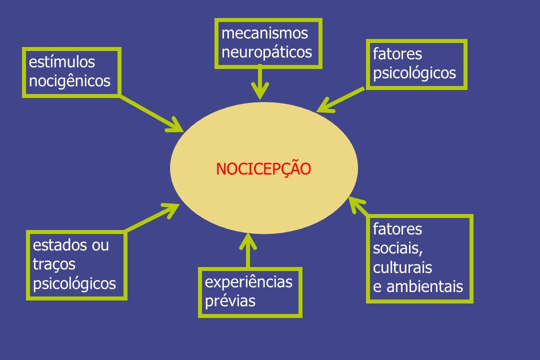 NOCICEPÇÃO estímulos nocigênicos mecanismos neuropáticos fatores psicológicos fatores sociais, culturais e ambientais experiências prévias estados ou