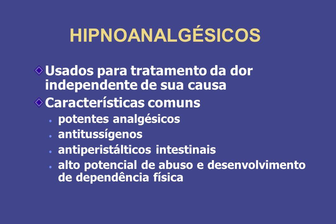 HIPNOANALGÉSICOS Usados para tratamento da dor independente de sua causa Características comuns potentes analgésicos antitussígenos antiperistálticos