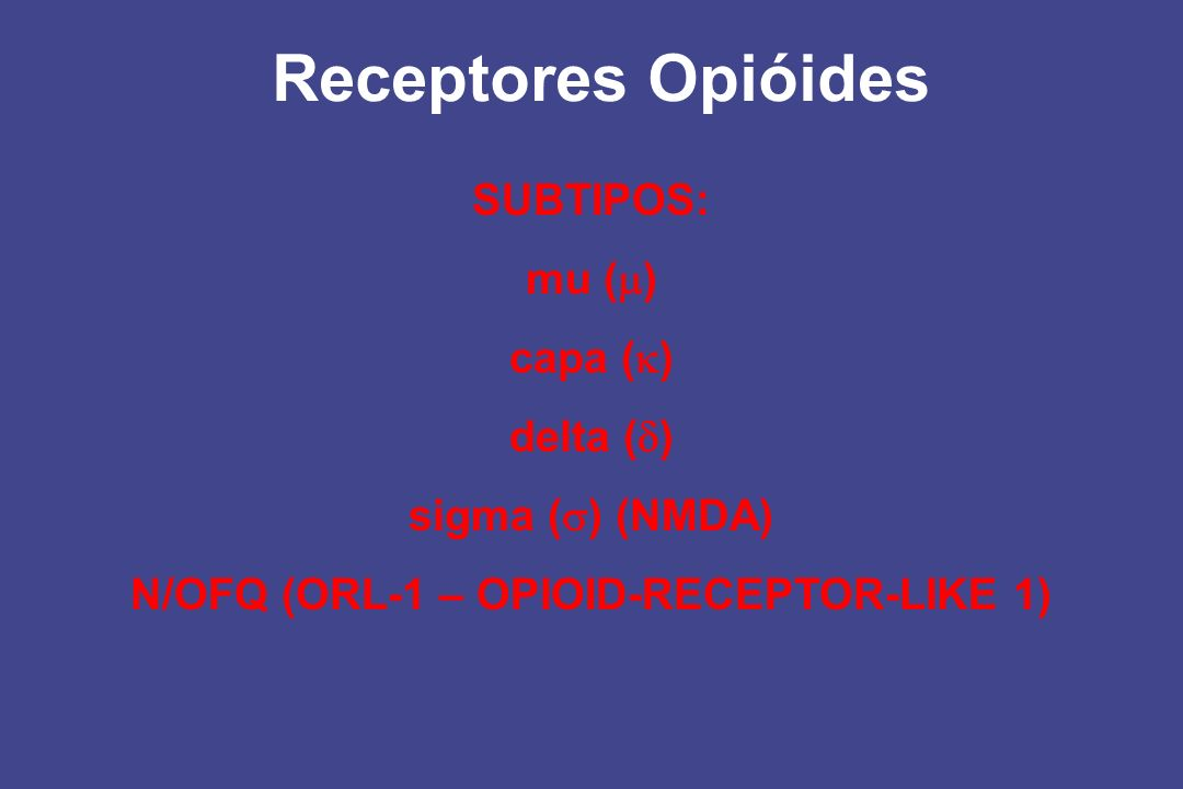 Receptores Opióides SUBTIPOS: mu ( ) capa ( ) delta ( ) sigma ( ) (NMDA) N/OFQ (ORL-1 – OPIOID-RECEPTOR-LIKE 1)