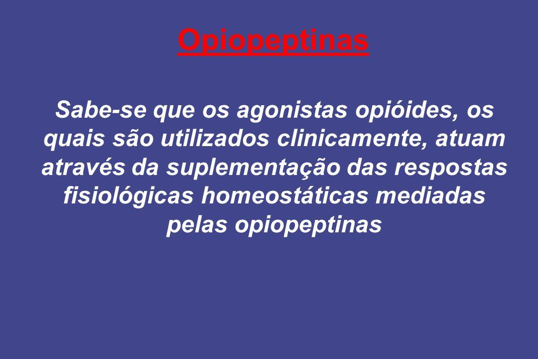 Opiopeptinas Sabe-se que os agonistas opióides, os quais são utilizados clinicamente, atuam através da suplementação das respostas fisiológicas homeos