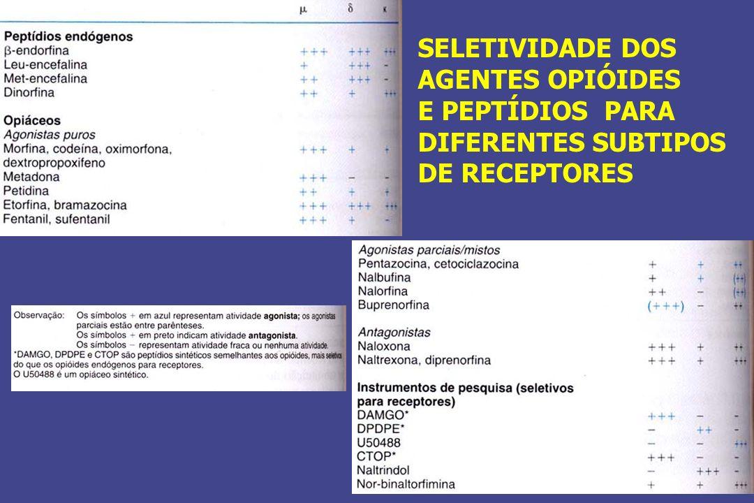 SELETIVIDADE DOS AGENTES OPIÓIDES E PEPTÍDIOS PARA DIFERENTES SUBTIPOS DE RECEPTORES