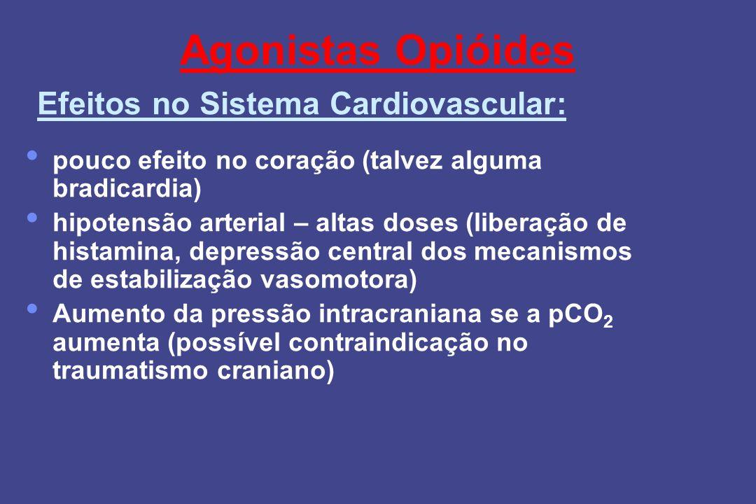 Agonistas Opióides pouco efeito no coração (talvez alguma bradicardia) hipotensão arterial – altas doses (liberação de histamina, depressão central do