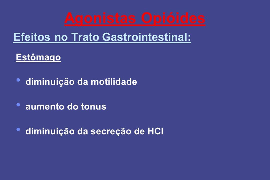 Agonistas Opióides Estômago diminuição da motilidade aumento do tonus diminuição da secreção de HCl Efeitos no Trato Gastrointestinal: