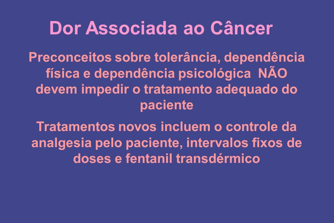 Dor Associada ao Câncer Preconceitos sobre tolerância, dependência física e dependência psicológica NÃO devem impedir o tratamento adequado do pacient