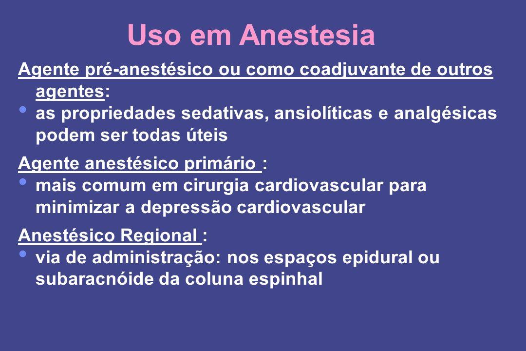 Uso em Anestesia Agente pré-anestésico ou como coadjuvante de outros agentes: as propriedades sedativas, ansiolíticas e analgésicas podem ser todas út