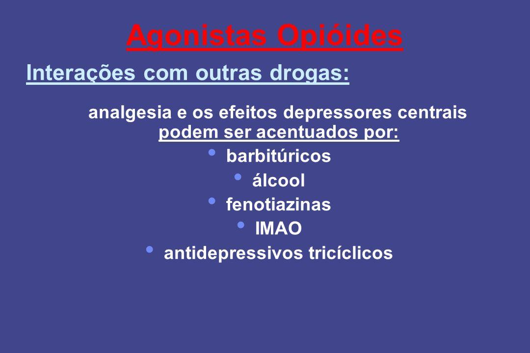 Agonistas Opióides A analgesia e os efeitos depressores centrais podem ser acentuados por: barbitúricos álcool fenotiazinas IMAO antidepressivos tricí