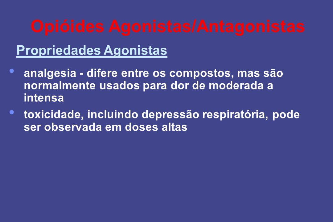 Opióides Agonistas/Antagonistas analgesia - difere entre os compostos, mas são normalmente usados para dor de moderada a intensa toxicidade, incluindo