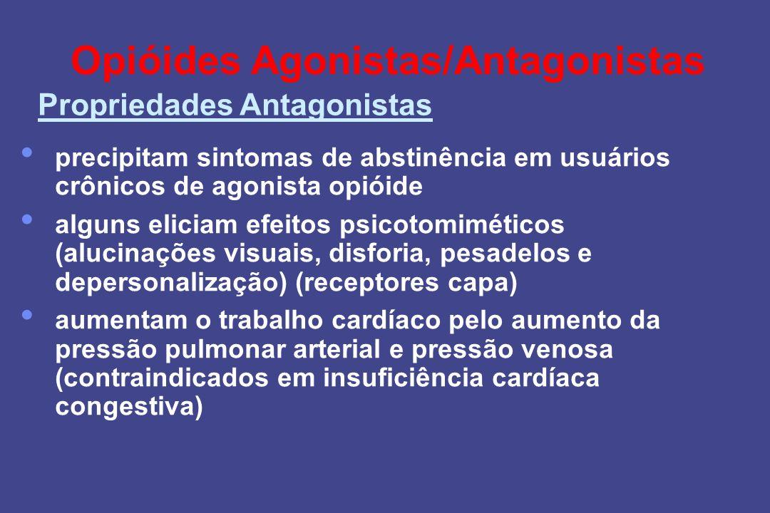 Opióides Agonistas/Antagonistas precipitam sintomas de abstinência em usuários crônicos de agonista opióide alguns eliciam efeitos psicotomiméticos (a