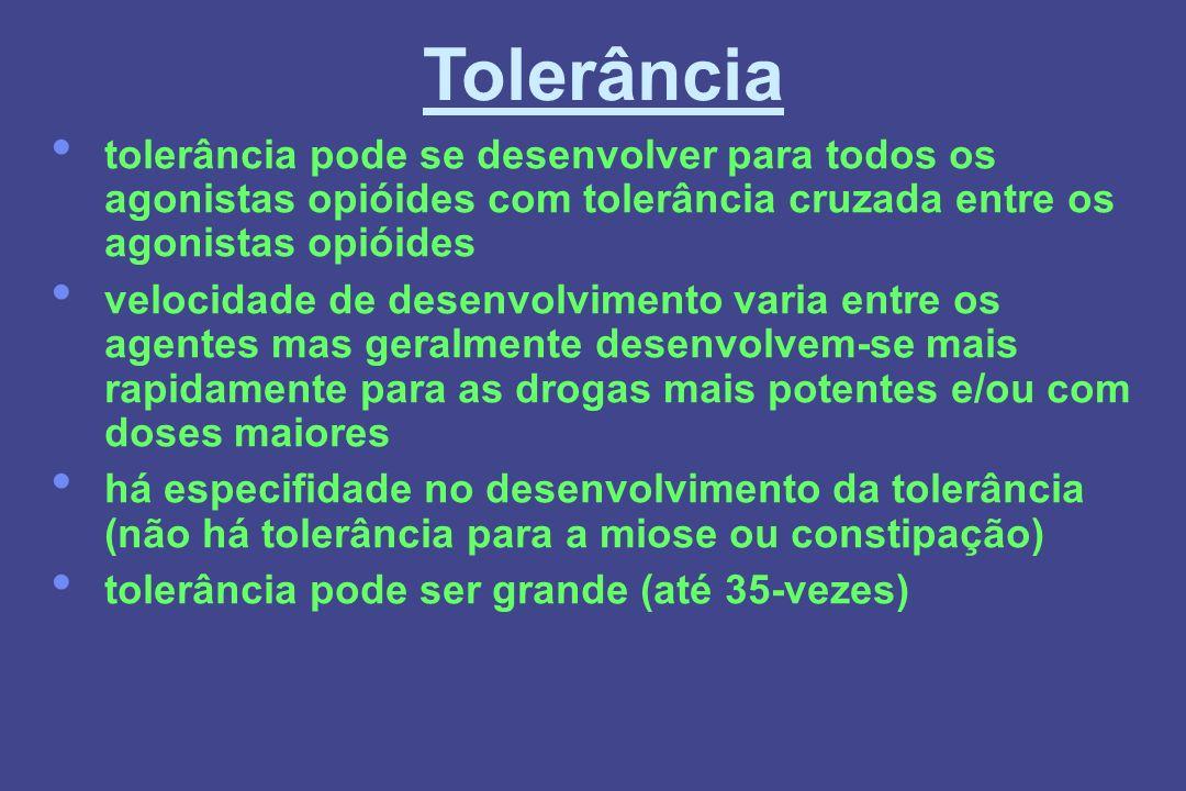 Tolerância tolerância pode se desenvolver para todos os agonistas opióides com tolerância cruzada entre os agonistas opióides velocidade de desenvolvi