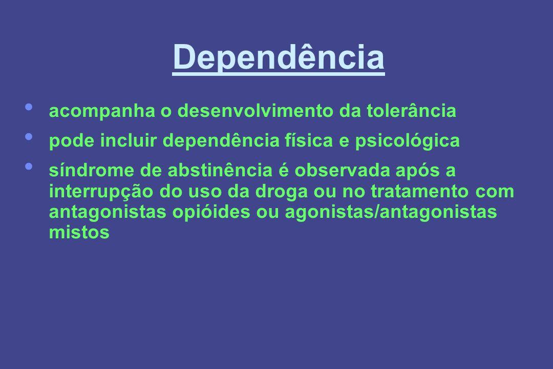 Dependência acompanha o desenvolvimento da tolerância pode incluir dependência física e psicológica síndrome de abstinência é observada após a interru