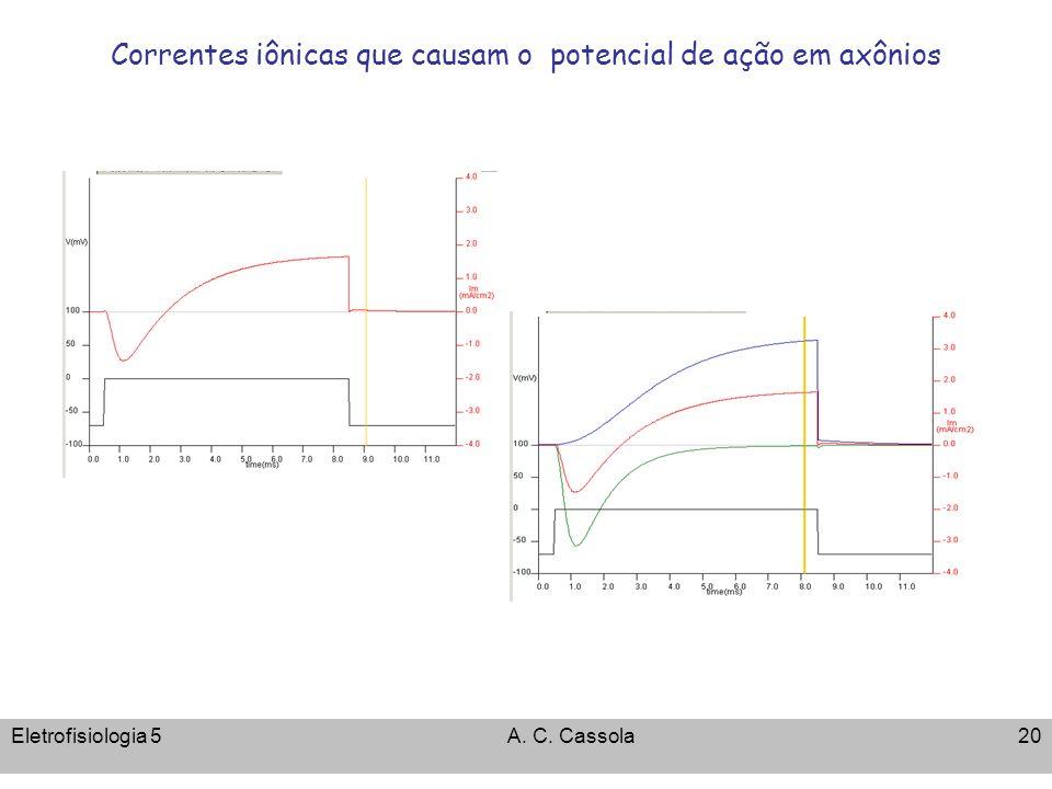 Eletrofisiologia 5A. C. Cassola20 Correntes iônicas que causam o potencial de ação em axônios