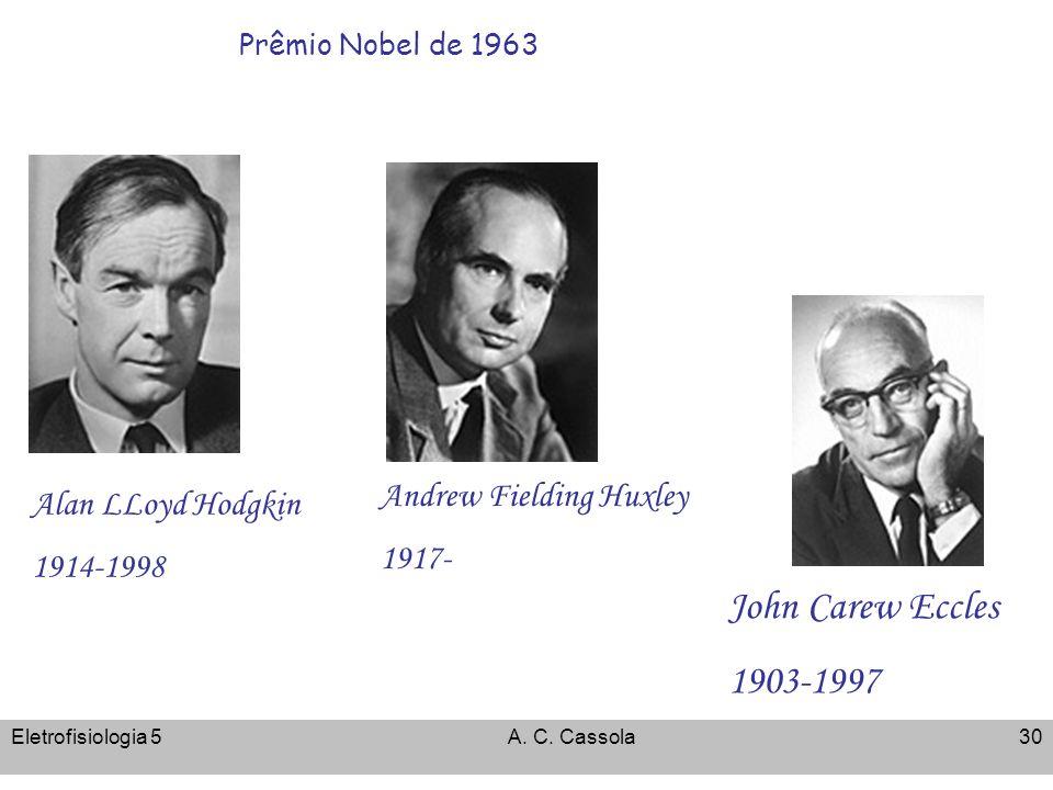 Eletrofisiologia 5A. C. Cassola30 Prêmio Nobel de 1963 Alan LLoyd Hodgkin 1914-1998 Andrew Fielding Huxley 1917- John Carew Eccles 1903-1997