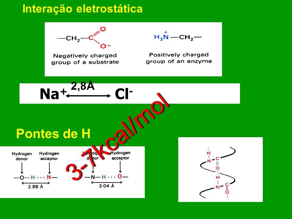 Interações não-covalentes entre espécies químicas Van der Waals (Dipolos induzidos) 1 kcal/mol 0,6kcal/mol