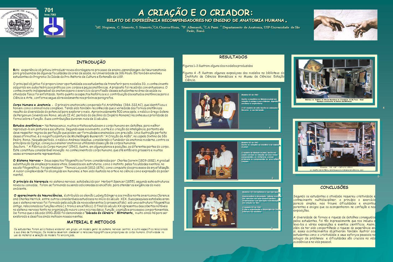 A CRIAÇÃO E O CRIADOR: RELATO DE EXPERIÊNCIA RECOMPENSADORES NO ENSINO DE ANATOMIA HUMANA. * MI. Nogueira, C. Sitamoto, S. Sitamoto, * CA.Chirosa-Hori