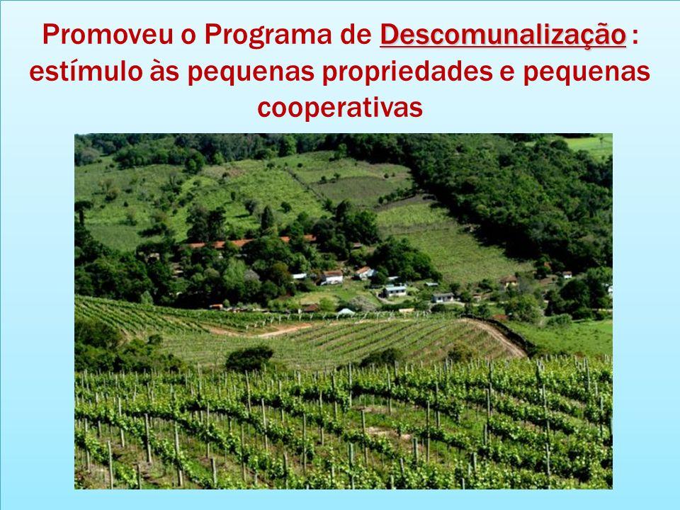 Descomunalização Promoveu o Programa de Descomunalização : estímulo às pequenas propriedades e pequenas cooperativas