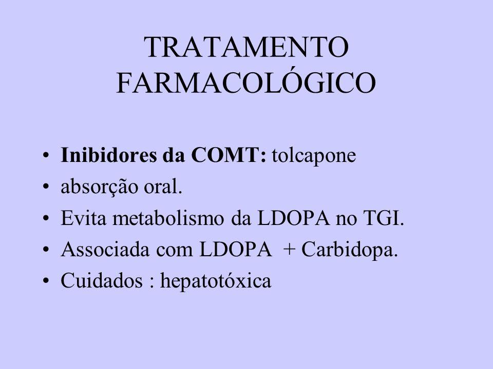 TRATAMENTO FARMACOLÓGICO Inibidores da MAO-B ( predomina no SNC):selegenina é um inibidor irreversível.