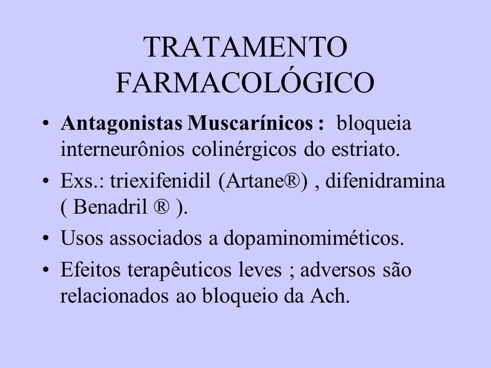 TRATAMENTO FARMACOLÓGICO Amantadina: agente anti-viral com efeitos anti-parkinsonianos : liberação DA (?), anti- colinérgicos (?),receptores de glutamato (?).