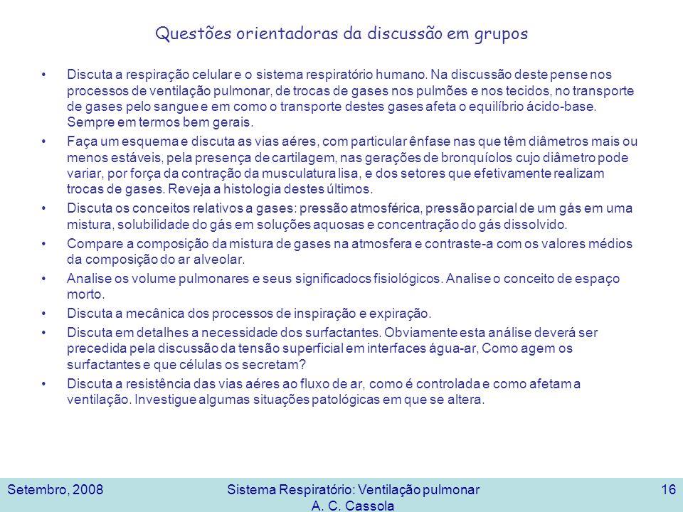 Setembro, 2008Sistema Respiratório: Ventilação pulmonar A. C. Cassola 16 Questões orientadoras da discussão em grupos Discuta a respiração celular e o