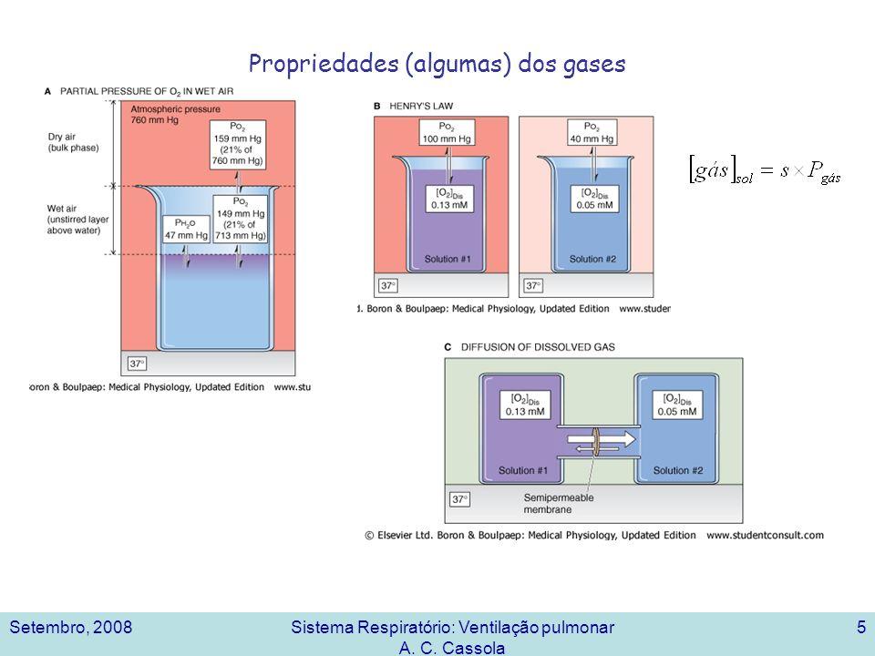 Setembro, 2008Sistema Respiratório: Ventilação pulmonar A. C. Cassola 5 Propriedades (algumas) dos gases