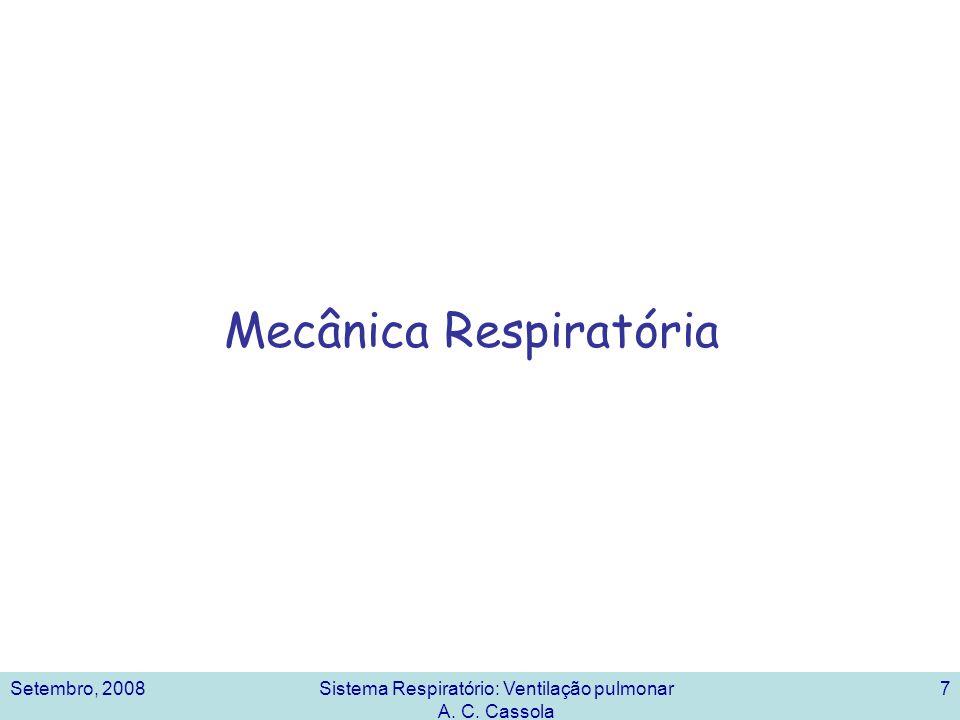 Setembro, 2008Sistema Respiratório: Ventilação pulmonar A. C. Cassola 7 Mecânica Respiratória