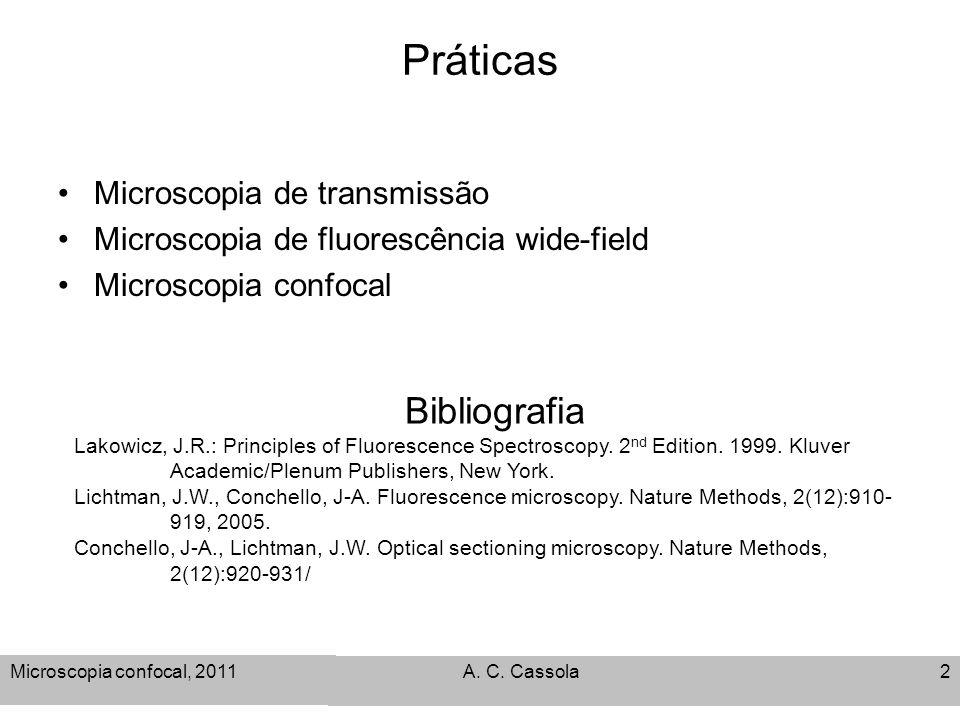 Microscopia confocal, 2011 A. C. Cassola2 Práticas Microscopia de transmissão Microscopia de fluorescência wide-field Microscopia confocal Bibliografi