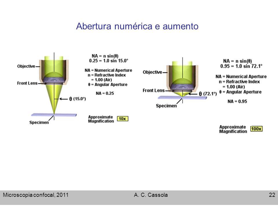 Microscopia confocal, 2011A. C. Cassola22 Abertura numérica e aumento