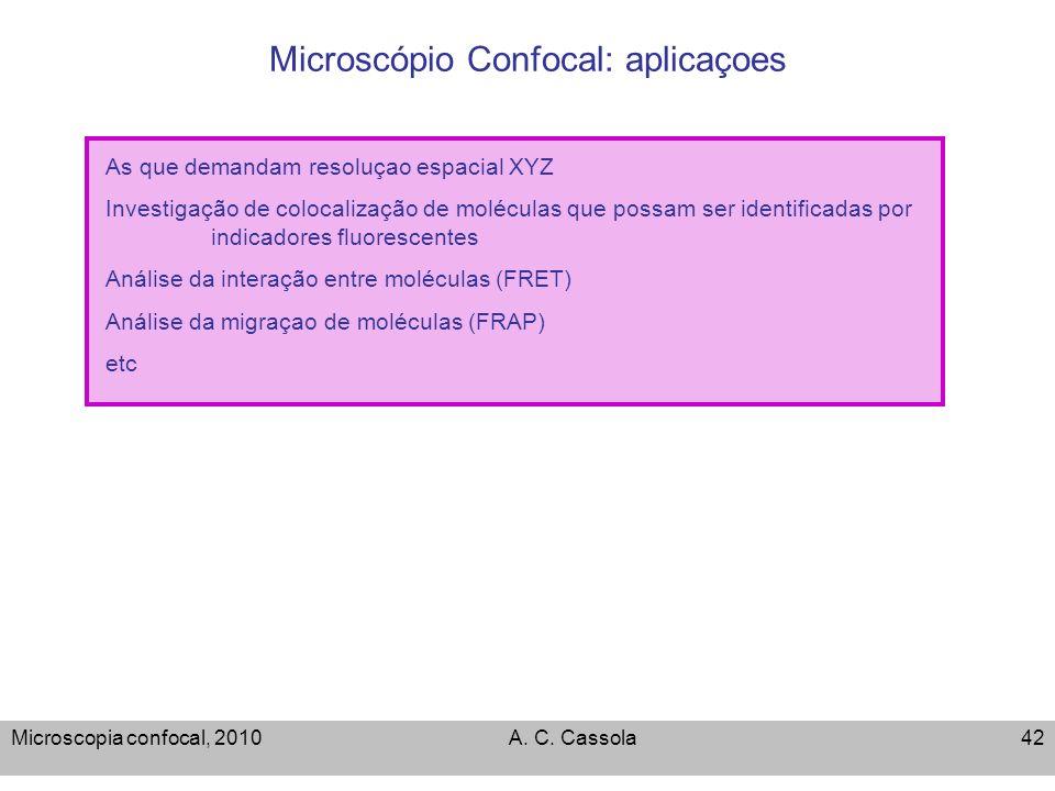 Microscopia confocal, 2010A. C. Cassola42 Microscópio Confocal: aplicaçoes As que demandam resoluçao espacial XYZ Investigação de colocalização de mol