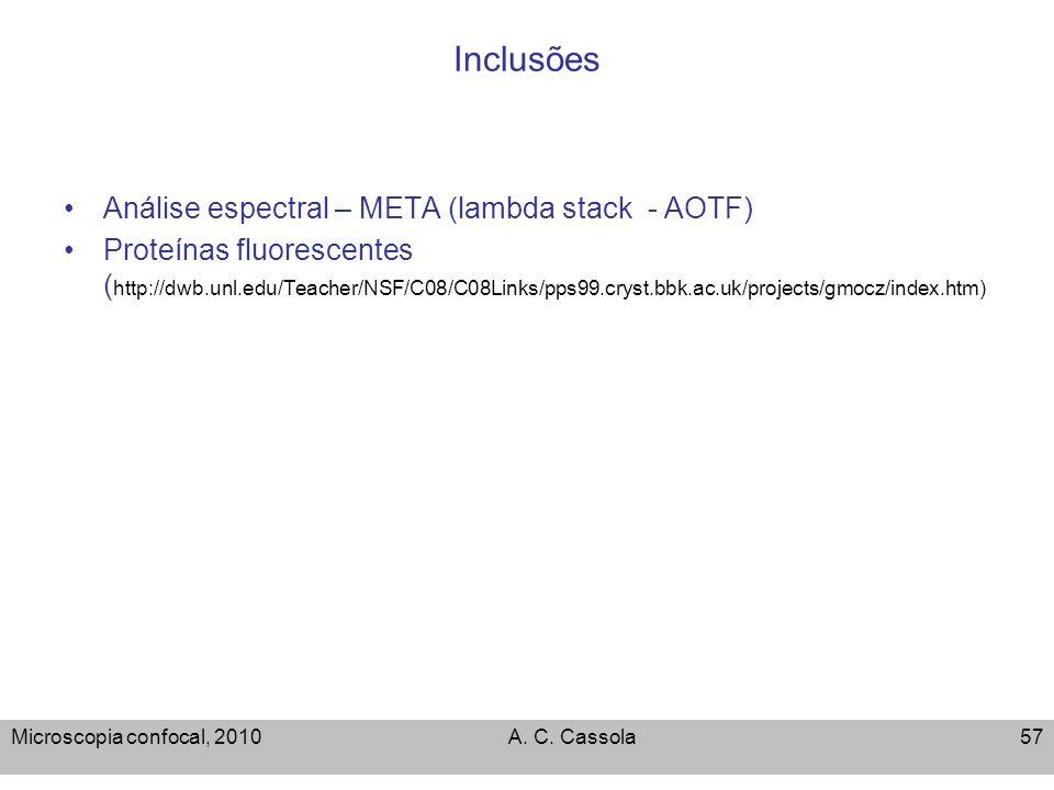 Microscopia confocal, 2010A. C. Cassola57 Inclusões Análise espectral – META (lambda stack - AOTF) Proteínas fluorescentes ( http://dwb.unl.edu/Teache