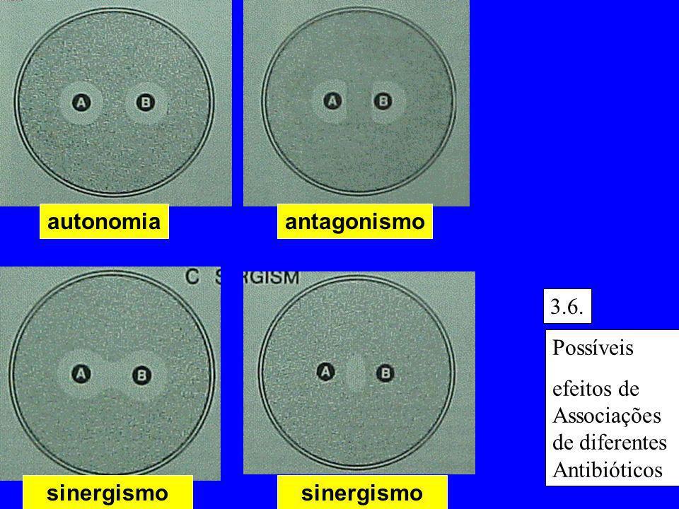 sinergismo antagonismoautonomia sinergismo Possíveis efeitos de Associações de diferentes Antibióticos 3.6.