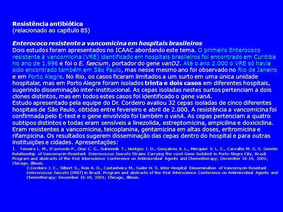 Resistência antibiótica (relacionado ao capítulo 85) Enterococo resistente a vancomicina em hospitais brasileiros Dois estudos foram apresentados no ICAAC abordando este tema.