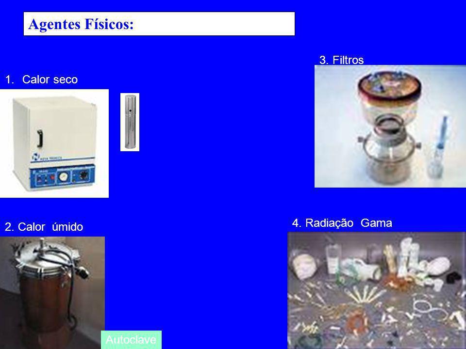 Agentes Físicos: 1.Calor seco 2. Calor úmido 3. Filtros 4. Radiação Gama Autoclave