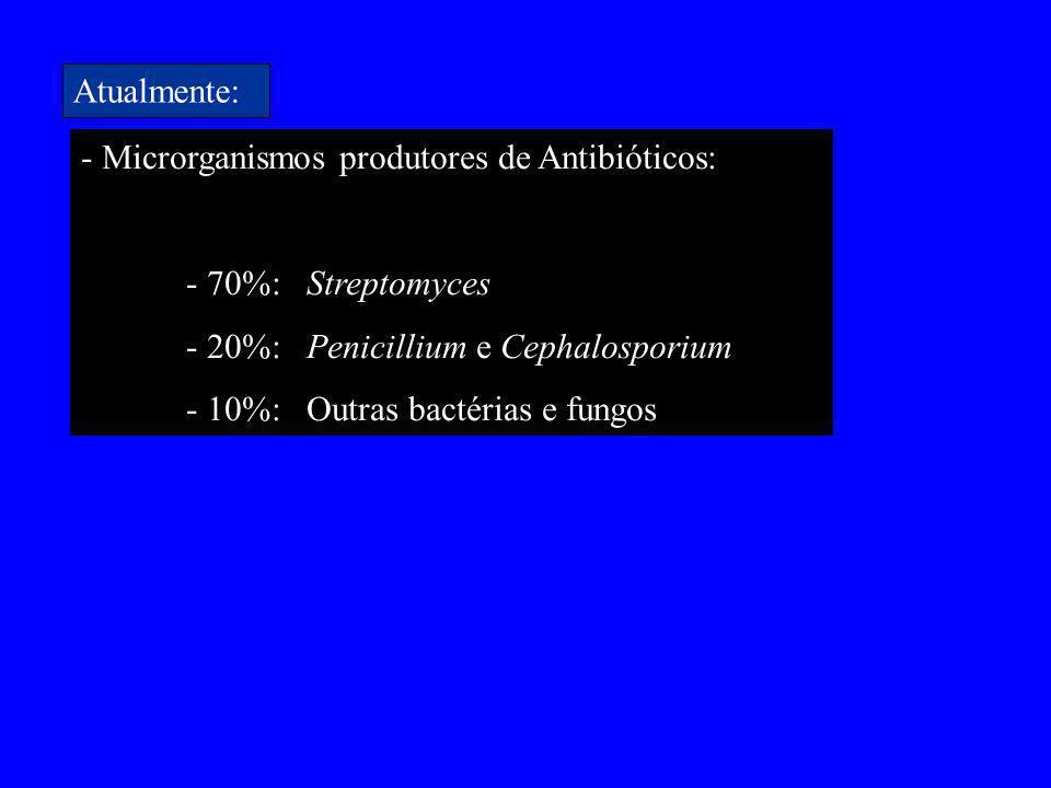 - Microrganismos produtores de Antibióticos: - 70%: Streptomyces - 20%: Penicillium e Cephalosporium - 10%: Outras bactérias e fungos Atualmente: