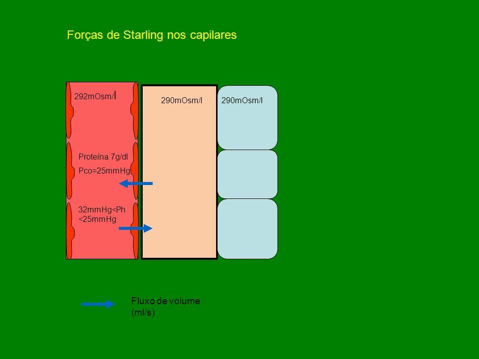 290mOsm/l 292mOsm/ l 290mOsm/l Proteína 7g/dl Pco=25mmHg 32mmHg<Ph <25mmHg Fluxo de volume (ml/s) Forças de Starling nos capilares