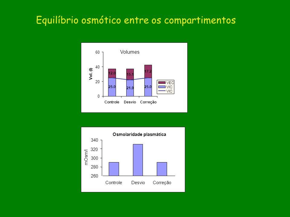 Osmolaridade plasmática ControleDesvioCorreção 260 280 300 320 340 mOsm/l 25.0 21.9 25.0 12.0 15.1 17.2 ControleDesvioCorreção 0 20 40 60 Vol. (l) VEC