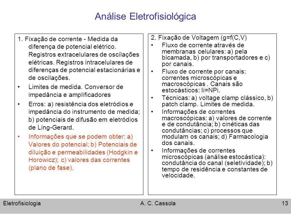 EletrofisiologiaA. C. Cassola13 Análise Eletrofisiológica 1. Fixação de corrente - Medida da diferença de potencial elétrico. Registros extracelulares