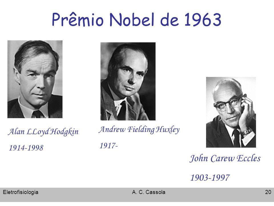 EletrofisiologiaA. C. Cassola20 Prêmio Nobel de 1963 Alan LLoyd Hodgkin 1914-1998 Andrew Fielding Huxley 1917- John Carew Eccles 1903-1997
