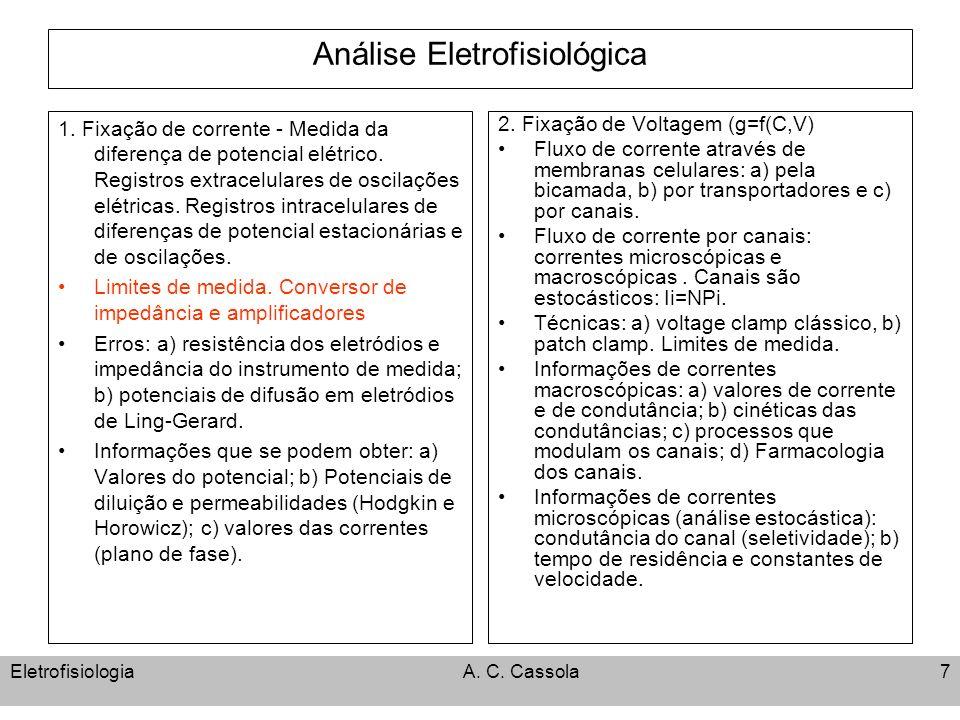 EletrofisiologiaA. C. Cassola7 Análise Eletrofisiológica 1. Fixação de corrente - Medida da diferença de potencial elétrico. Registros extracelulares
