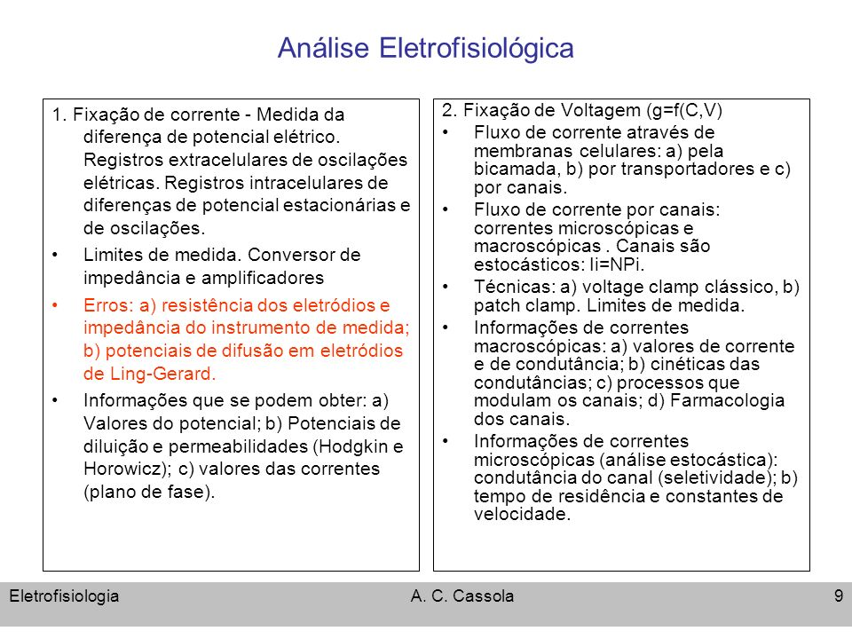 EletrofisiologiaA. C. Cassola9 Análise Eletrofisiológica 1. Fixação de corrente - Medida da diferença de potencial elétrico. Registros extracelulares